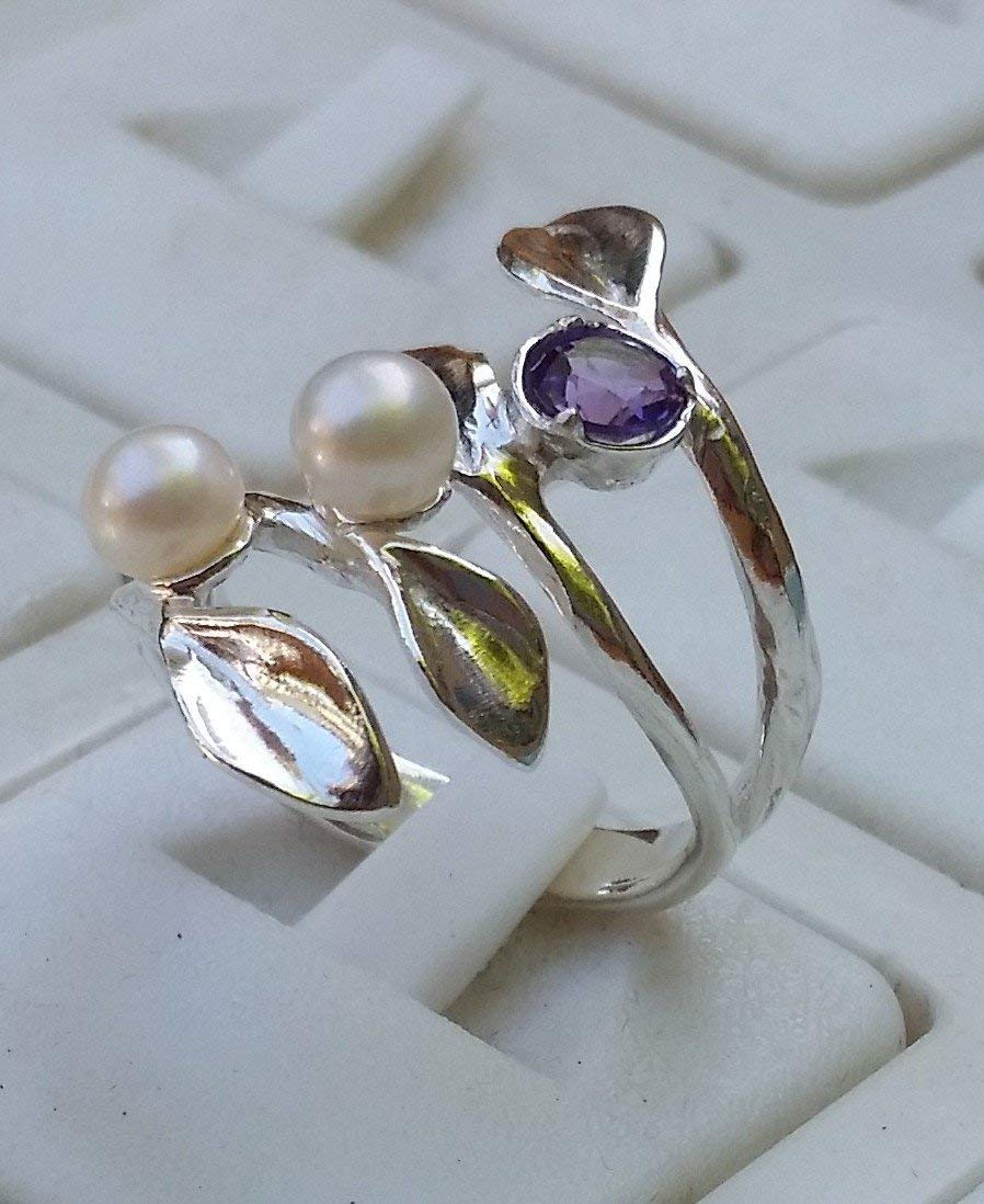 Amethyst Silver Ring ,Pearl Silver Ring ,Stackable Silver Ring Sterling Silver Ring ,Bridal Ring ,Gemstones Silver Ring ,Multistone Silver Ring Leaves Silver Ring