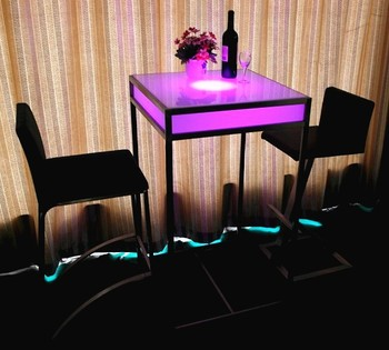 Plastic Top With Metal Legs Color Changing Coffee Table From China Gl Tables Product On