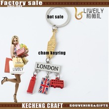 Custom top grade golden big ben and red bus and telephone box Metal Charm Keyring