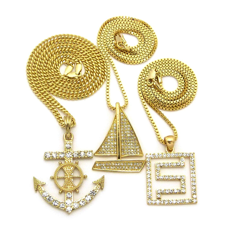 Maze, Sailboat & Nautical Wheel Anchor Studded Pendant Set w/ Box & Cuban Chain Necklaces, Gold-Tone