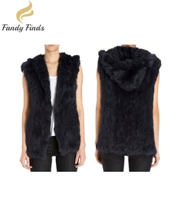Women Winter Long Gilet Hand Knitted Hoody Real Rabbit Fur Vest