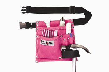 5 Pocket Suede Leather Women S Pink Tool Pouch Belt Tools Belts And Bags Product On Alibaba