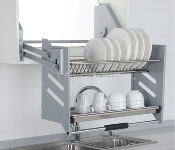 Kitchen Cabinet Hanging Storage Basket With Stainless Steel Dish Rack  Dividers(201.940.600)