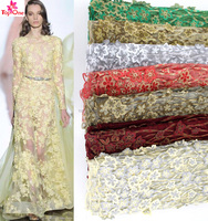 african tulle net lace/3d flower lace fabric wedding lace fabric bridal dress