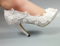 Morili cheap white color satin lace peep toe women high heel bridal wedding shoes with pearls 5cm 8cm 10cm MWSB11