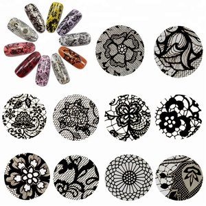 Custom roll Black Lace Gold Transfer Foil Sticker Decal Nail Art Wraps Flower Glue Adhesive Manicure Gel Polish Nail Decoration