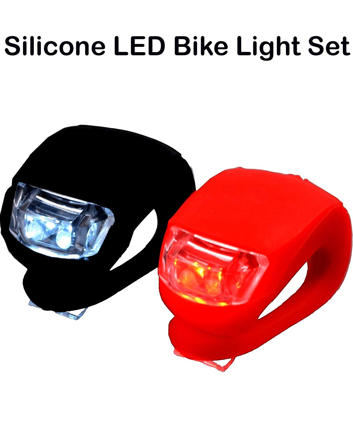 Magic Hub Sport Bicycle Light Front and Rear - Silicone LED Bike Light Set - Bike Headlight and Taillight, Mountain Bike Cycle Safety Lights, 2 Pack