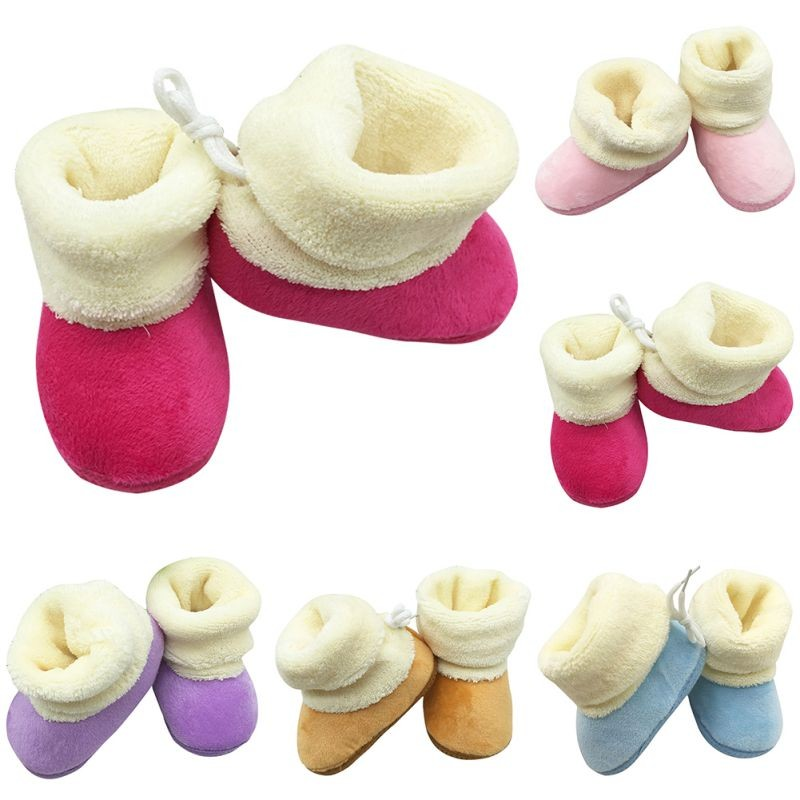 New Winter Newborn Baby Shoes Flock Warm Pre-walker Shoes Infant Boy Girl Toddler Soft Soled First Walker