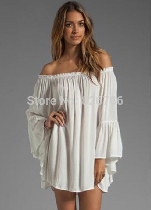 e415705b85c4 Turmec » white off shoulder long sleeve dress