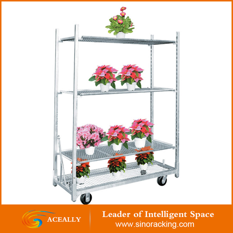 2017 Greenhouse Equiment Danish Rolling Display Flower Trolley Transport cart
