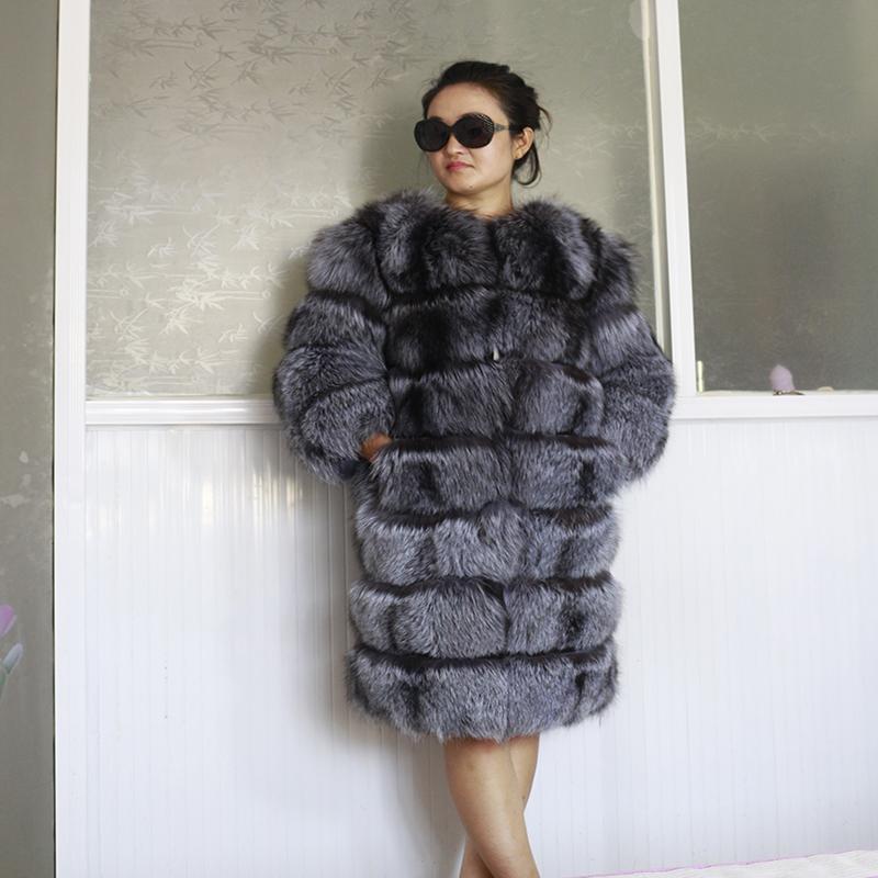 e14c5482d66 2016 cálido invierno nuevo diseño señoras de plata larga chaqueta de piel  de zorro real de