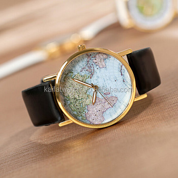Hot Fashion Leather Alloy Christmas gifts Retro Vintage World Map Watch