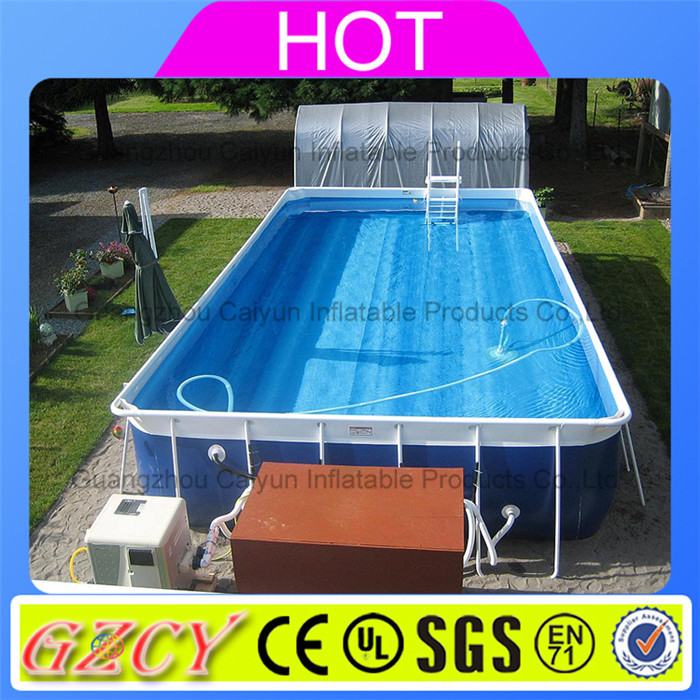 Plastik Pool metal frame swimming pool for backyard,square above ground pool with