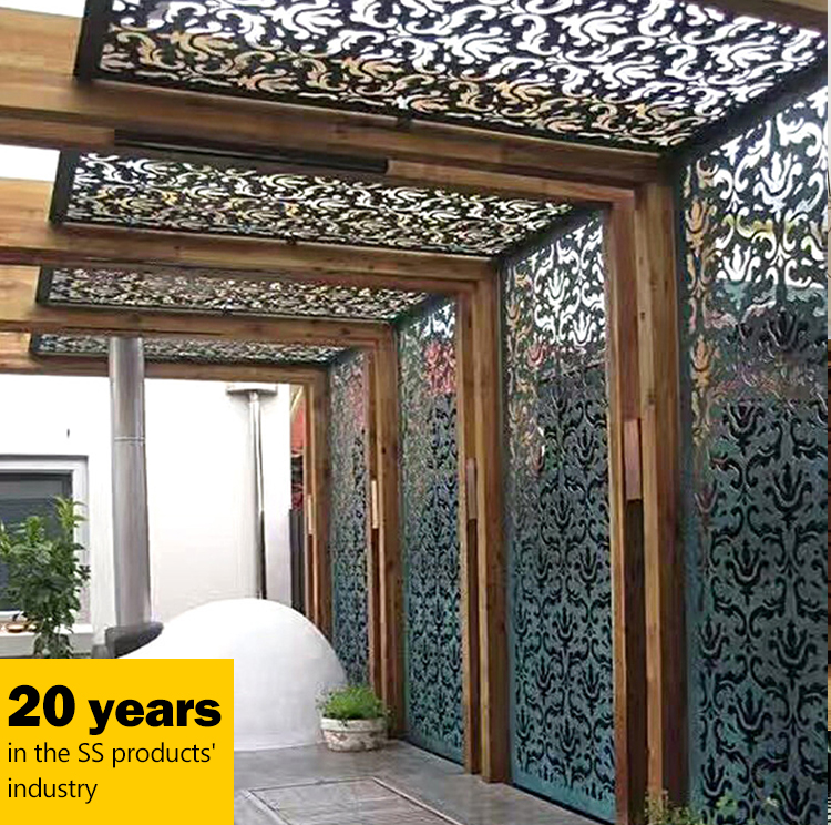 Stainless Steel Laser Cut Partition Decorative Outdoor Privacy Screens  Garden Metal Panels For Landscaping