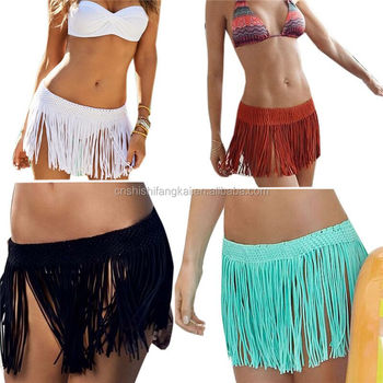 df72e472579b5 Sexy Beach Elastic Waist Mini Skirt Summer Tassel Swimwear Beach Skirt  Pareo Beach Bikini Cover Up