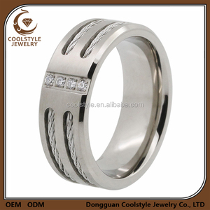 Men ring titanium 4 CZ used silver diamond ring diamond engagement ring for boys