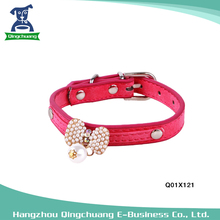Pet PU Leather Bow Tie Pearl Dog Collar For Small Dogs