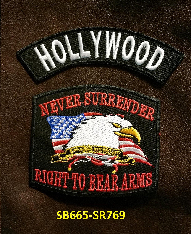 HOLLYWOOD and NEVER SURRENDER Small Badges Set for Biker Vest