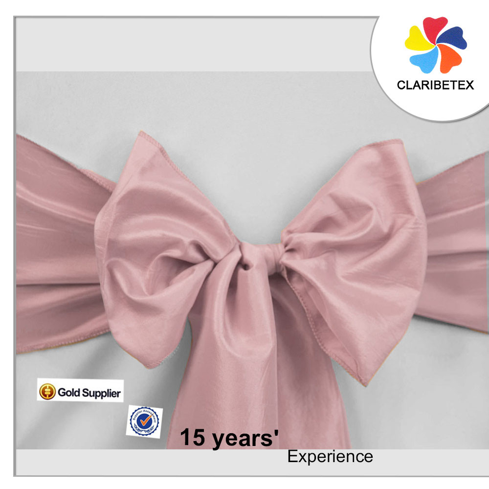 wedding plain dyed taffeta chair sashes dusty pink chair bow for