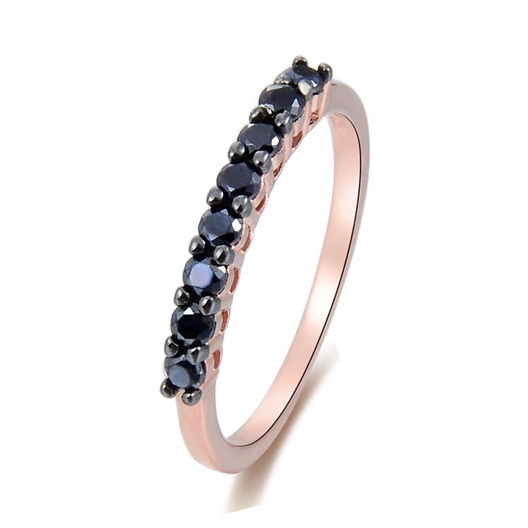 18de95dd8766 POLIVA de alta calidad adolescente desgaste diario Rosa Zirconia cúbica de  oro de ónix negro anillos