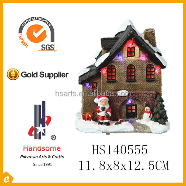 Resin christmas village houses with led light for home decoration