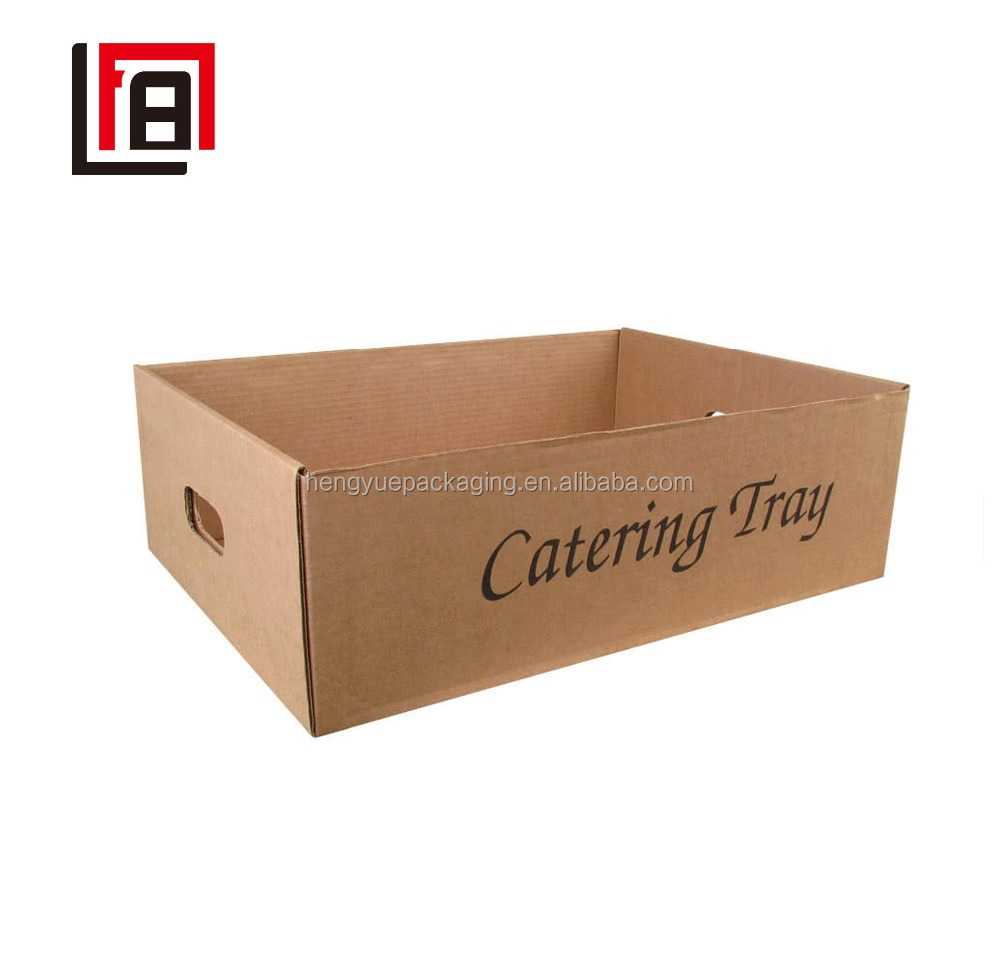 Useful Recyclable Corrugating Trays Food Catering Serving Tray with Die-cutting Handles without Lids for Wholesale or Retail
