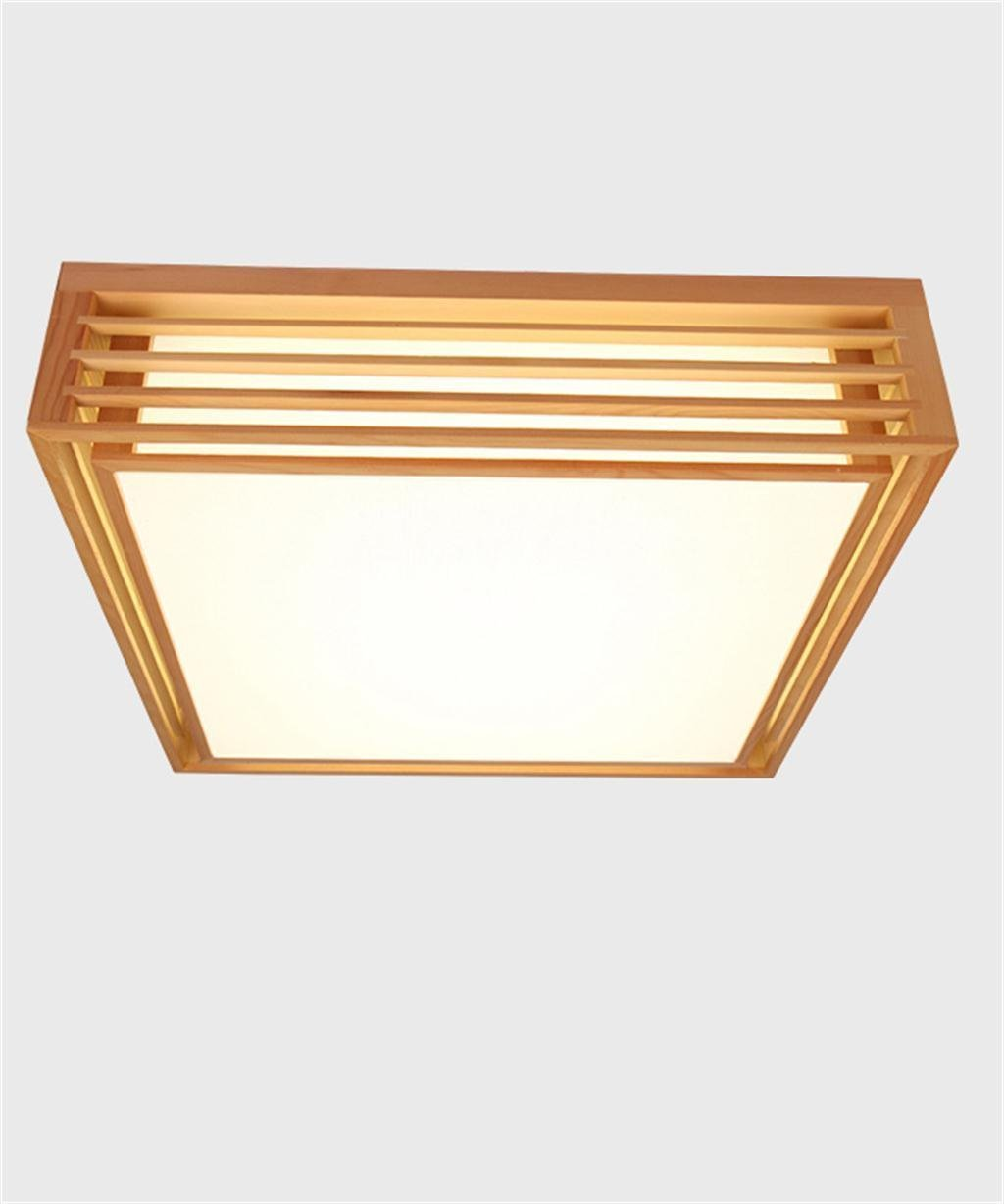 DIDIDD Ceiling light- nordic minimalist creative chinese wood wooden square ceiling light living room bedroom ceiling light (size optional) --home warm ceiling lamp