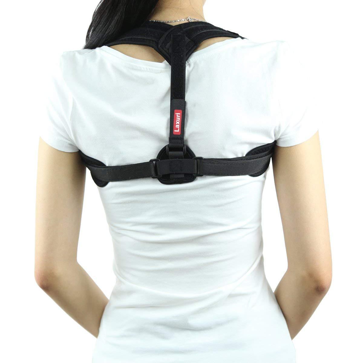 Laxuri C250 Back Brace Posture Corrector, Comfortable Upper Back Support & Shoulder Brace for Women Men Kids-Adjustable Prevent Slouching and Pain Relief (PC250 Full Black, Large)