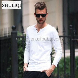 Stretch cotton V neck blank men's t shirt in bulk fast lead time
