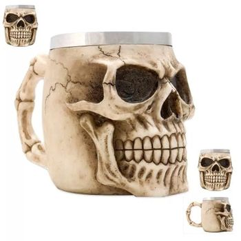 2018 New Arrival Stainless Steel and Resin Skull Cup Mugs for Party
