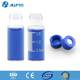 9-425 clear amber autosampler vial with 9mm blue open top screw cap with nature PTFE/red rubber septa