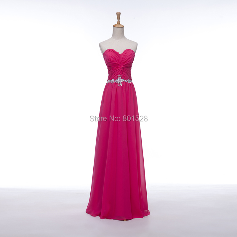 Elegant Cheap Sweetheart Hot Pink Chiffon Long Prom Dresses 2015 New Formal Evening Party Dress Gown Fashion Custom