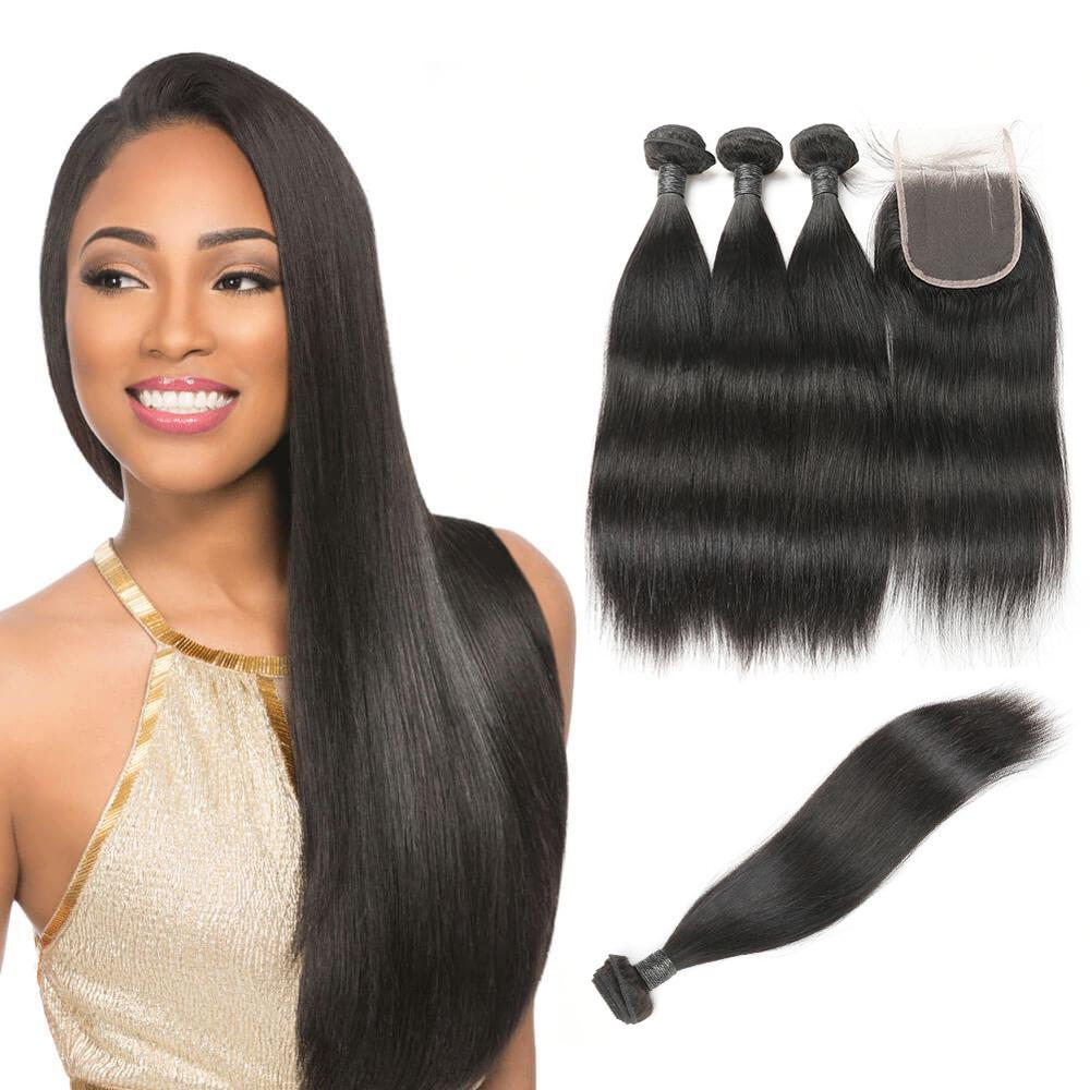 Virgin Straight Human Hair Weave Wholesale Black Hair Products