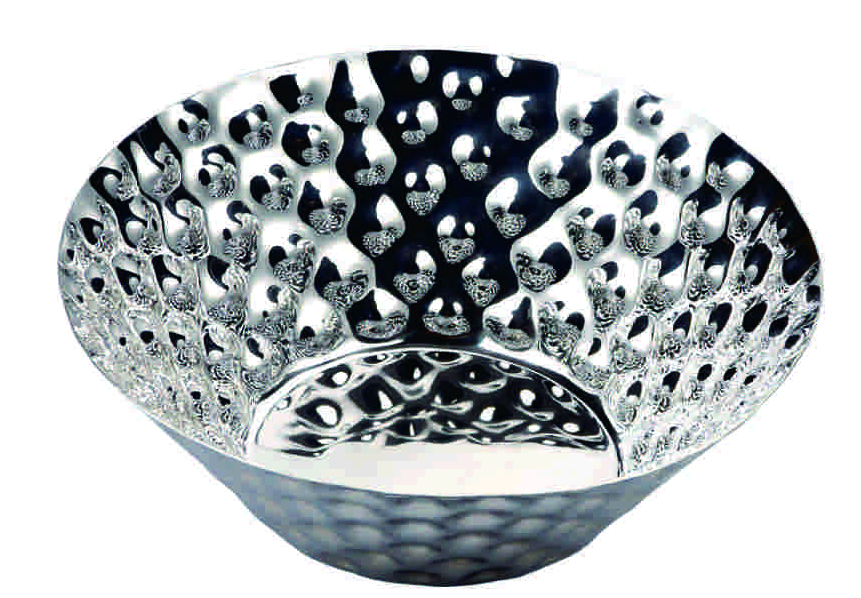 Wholesale Fancy Hammered Stainless Steel Decorative Silver Plated Metal Fruit  Bowl