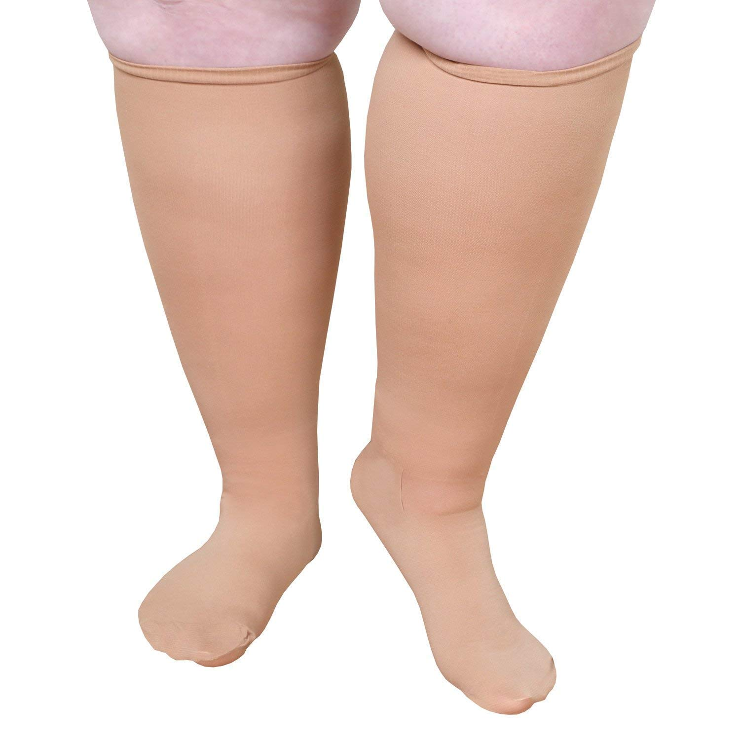 "Extra Wide Moderate Compression Knee Highs (Under 5'6"") - 15-20 mmHg- Beige"