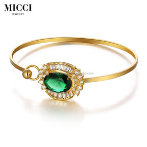Wholesale big stone jewelry,18K gold plated mesh bracelet, green cubic zircon stone bracelet parts for womens