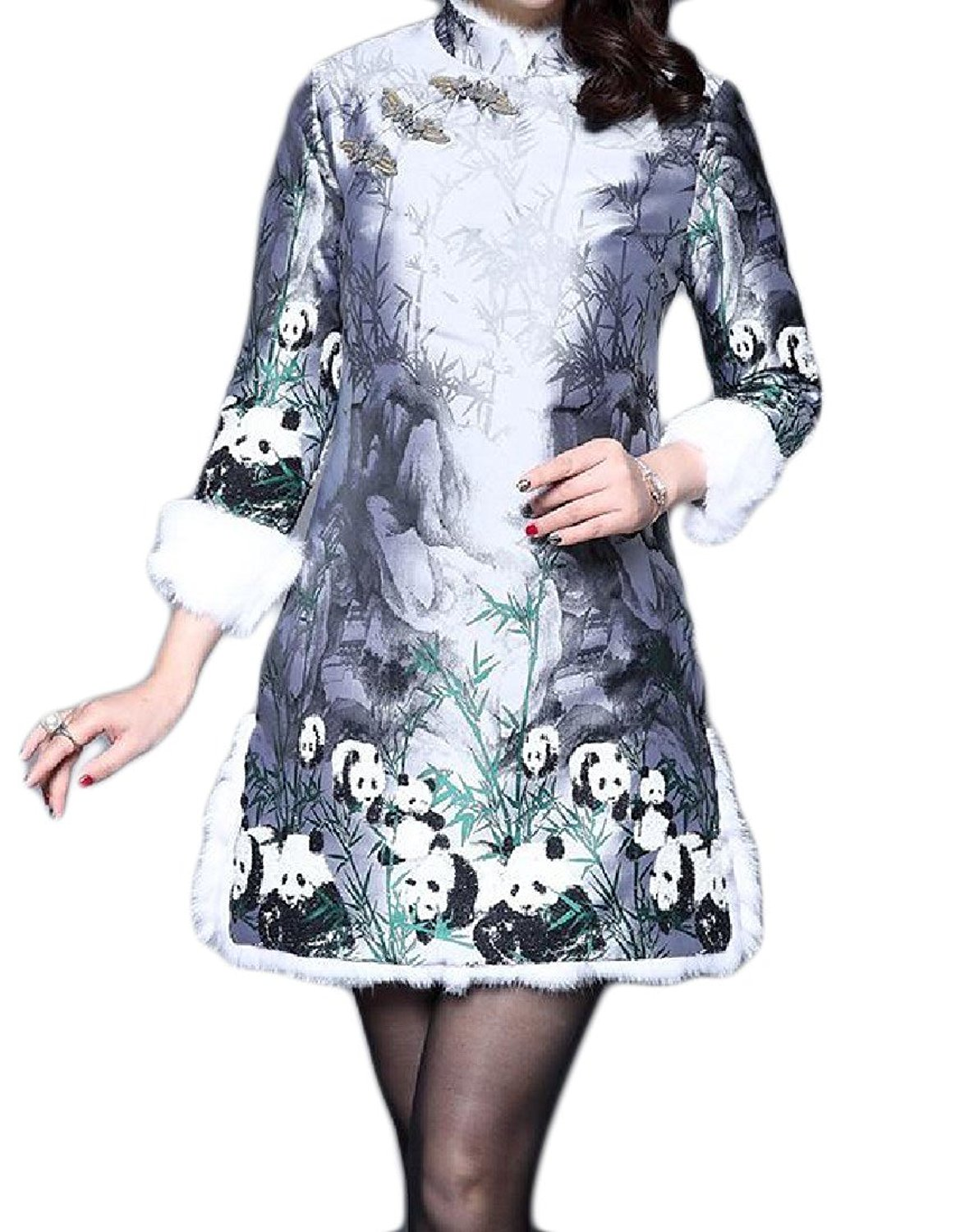Sheng Xi Womens Warm Bear Printed Thicken Retro Chinese Qipao Dress