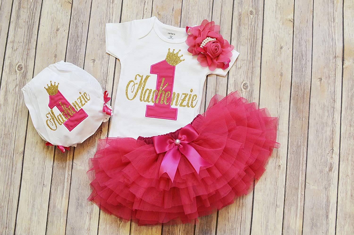 76243de20 Get Quotations · Personalized First Birthday Outfit girl,Hot pink gold 1st  birthday tutu,Princess birthday outfit