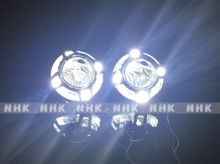 NHK Panamera hid projector lens shroud with led angel eyes headlight