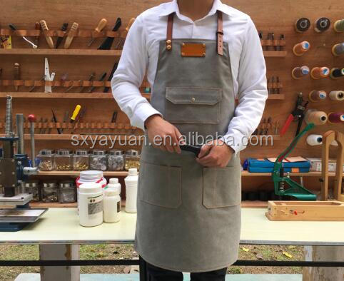 Vintage Waxed Canvas Leather Work Aprons for Men Wholesale