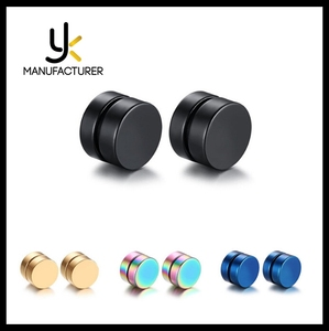Fashion 316L Stainless Steel Punk Earrings Magnetic Round Stud Earrings For Men Boy