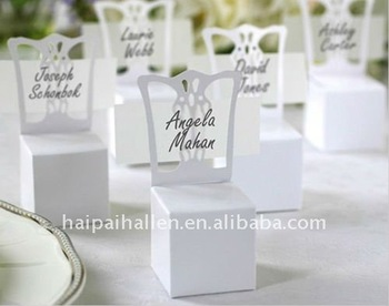 Favores do casamento titular Miniature Chair Place Card e caixa Favor