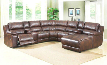 American Style Home Theater Black Leather Motion Sectional Corner Sofa With Chaise Lounge