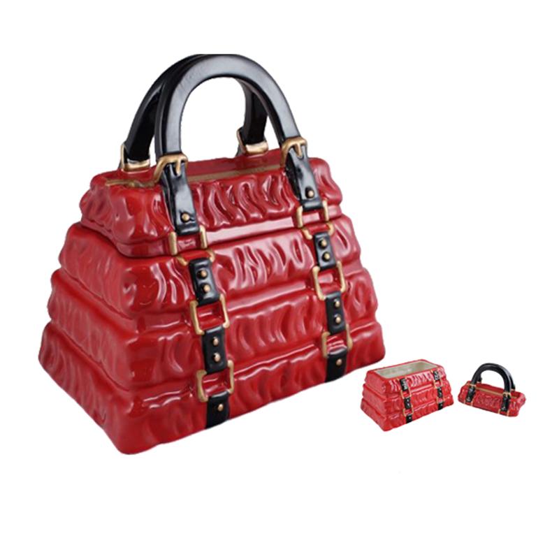 Novelty Red Handbag Ceramic Cookie Jar