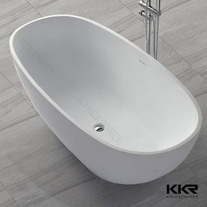 Egg shaped composite stone freestanding baths