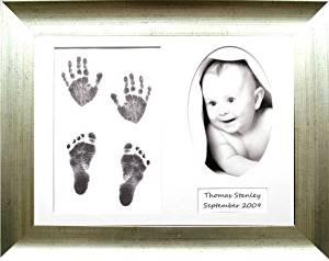BabyRice Baby Handprint Footprint Kit, Antique Silver Frame, Black Inkless Paint Wipe Kit 0-3 years by Anika-Baby