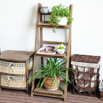 Decoration Folding Wooden Plant Stand With Three Shelves Wooden