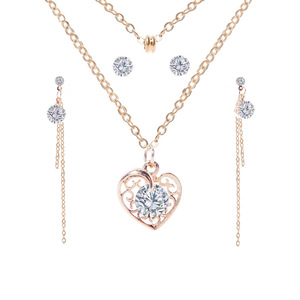 Fashion Crystal Heart Mexican Gold Jewelry Set Wholesale NS803016