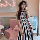 Ladies Summer Sleeveless Vertical Stripe Skirt Sweater Knit Wear Casual Long Dress