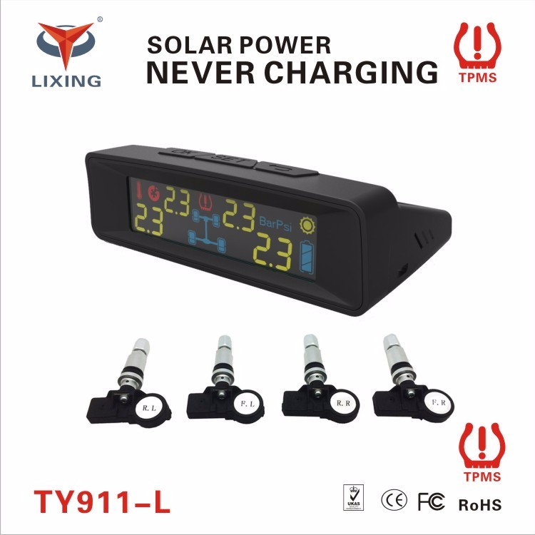 Best factory make high quality LCD digital solar power tpms tire pressure control monitoring system with 4 internal sensors
